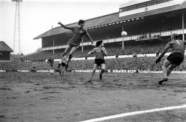 Chelsea striker Peter Osgood heads the ball during a FA Challenge Cup semifinal match against Watford at White Hart Lane, north London.