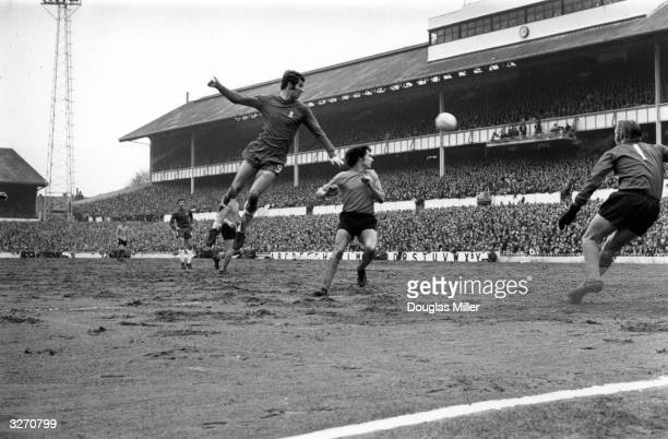 Chelsea striker Peter Osgood heads the ball during a FA Challenge Cup semifinal match against Watford at White Hart Lane north London