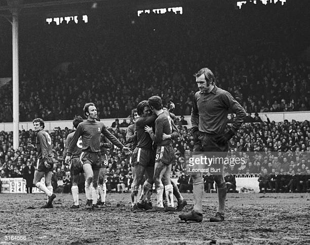 Watford's goalkeeper looks dejected as Watford slump to a 5 1 defeat to Chelsea in the FA Cup semifinal at White Hart Lane