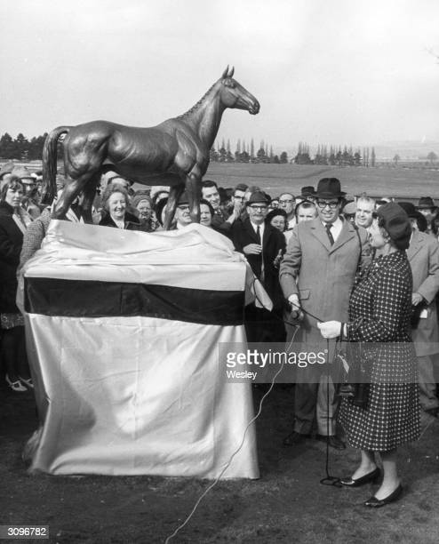 Ann Duchess of Westminster unveils a bronze statue of Irish chaser 'Arkle' three times winner of the Cheltenham Gold Cup sculpted by local artist...