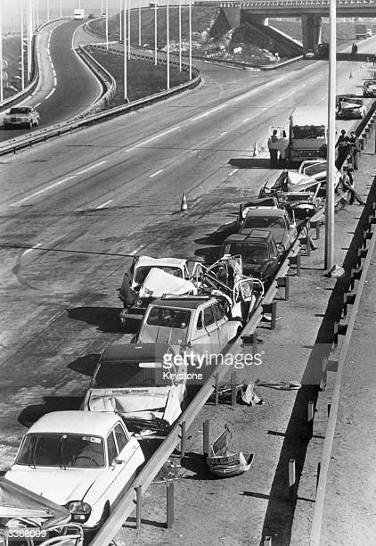 The aftermath of a 50 vehicle car accident on a motorway to the north of Paris in which 20 drivers were injured