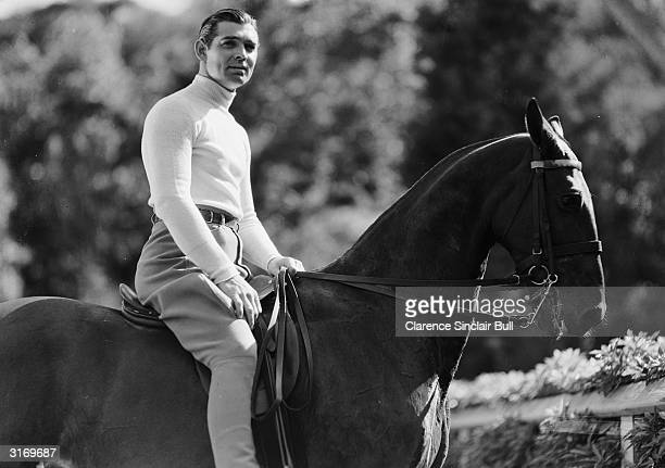 American leading man Clark Gable on horseback