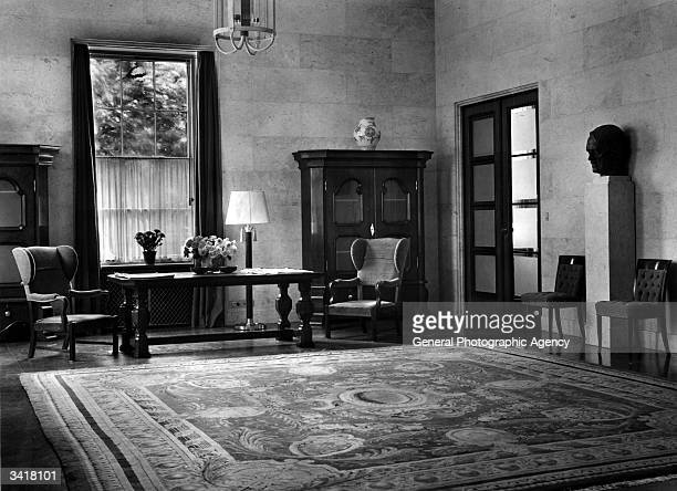 A view of the entrance hall to the German Embassy Carlton House London A bust of the Fuhrer Adolf Hitler can be seen to the right