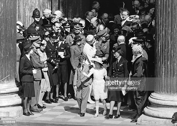 The Duchess Marina of Kent daughter of Prince Nicholas of Greece with the Duke of Kent and Princess Alexandra leaving St Paul's Cathedral after the...