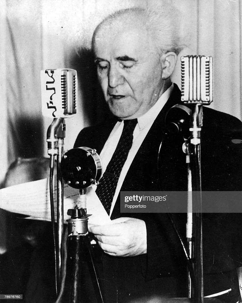 14th May 1948, Jerusalem, Israel, Israeli statesman and Prime Minister David Ben-Gurion proclaiming the birth of the new Jewish state of Israel