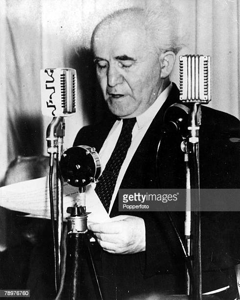 14th May 1948 Jerusalem Israel Israeli statesman and Prime Minister David BenGurion proclaiming the birth of the new Jewish state of Israel