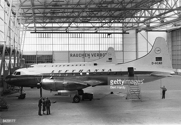 Convairs in a hangar at Fuhlsbuttel airport where the Lufthansa planes are berthed prior to the reopening of the German air service Original...