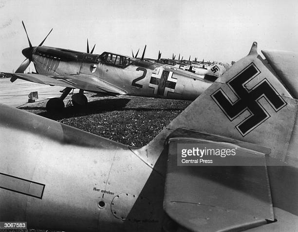German Messerschmitt 109s at an English airfield for the filming of 'The Battle of Britain'