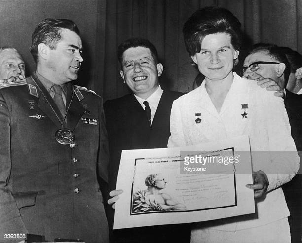 Russian cosmonaut and first woman in space Valentina Tereshkova receives the Galabert International Astronauts Prize in Paris as her cosmonaut...