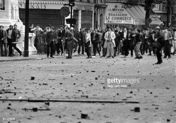Paris students on the street during the riots