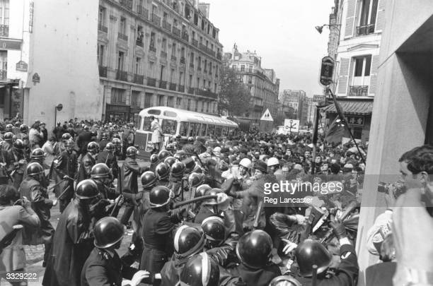 Students and police clash during the Paris riots