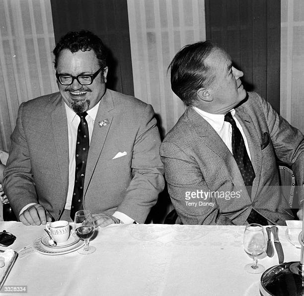 Welsh comedian Harry Secombe with American singer, actor and comedian Bob Hope at a Royal Variety Club lunch in London.