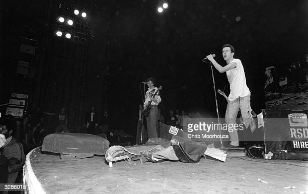 The Clash on stage performing at the Rainbow, London.