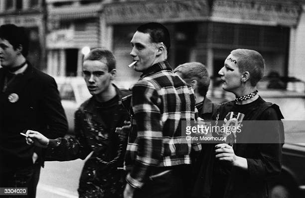 Young punks queuing outside the Rainbow London to see The Clash and The Jam in concert