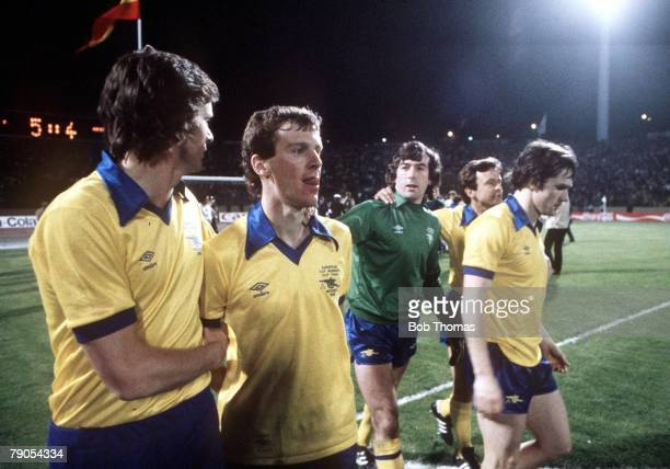 14th May 1980 European Cup Winners Cup Final Arsenal's Graham Rix is comforted by Steve Walford after missing the vital penalty which gave the trophy...