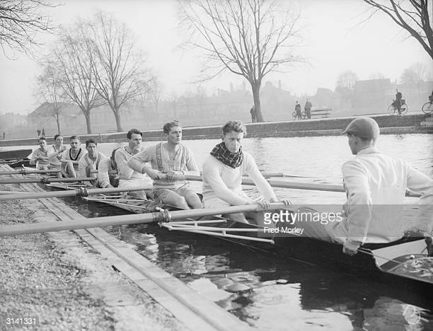 Cambridge Boat Race 'B' crew ready for an outing on the River Cam From L to r R E P Serocold R R Lack A S Hawkins P C Kirkpatrick M P Lonnon P G...