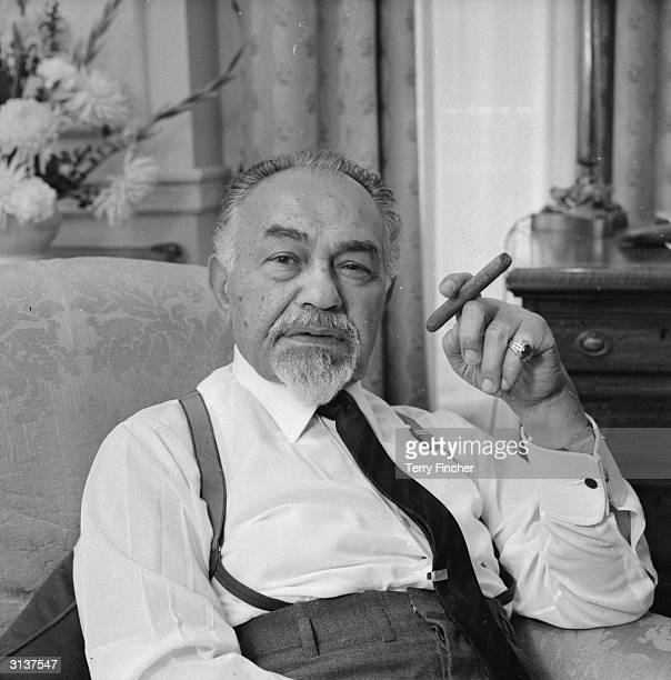 Romanianborn actor Edward G Robinson star of the classic thrillers 'Double Indemnity' and 'Key Largo' at Claridges Hotel in London