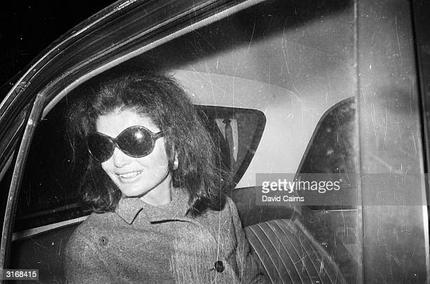 Jacqueline Onassis , wife of Greek shipping tycoon Aristotle Onassis and former wife of assassinated US president John F Kennedy, at London Airport.