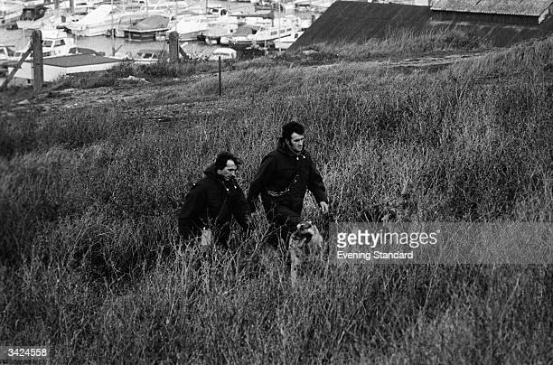 Police and dogs searching for the missing Lord Lucan at Newhaven in Sussex