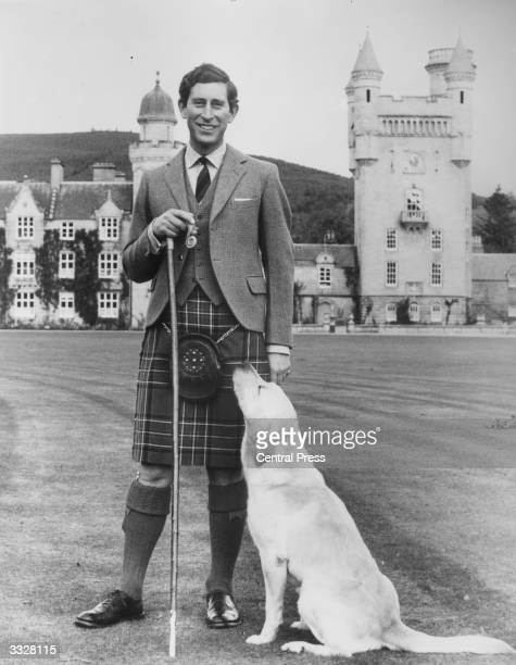 Charles, Prince of Wales wearing a Hunting Stewart tartan kilt in the grounds of Balmoral Castle on his 30th birthday.