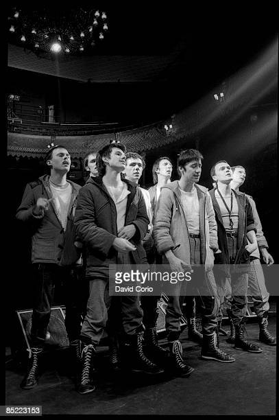 Photo of DEXYS MIDNIGHT RUNNERS at The Old Vic London on the 14th November 1981 Kevin Rowland is fourth from left