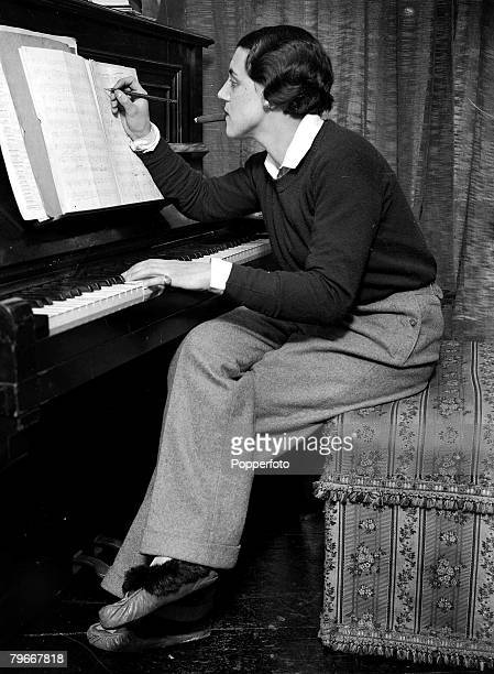 14th, November World+s youngest woman composer, Miss, Vivien Lambelet at work in her London flat writing her symphony ,phantasmagoria to be performed...