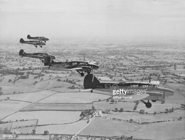 Trainee Royal Air Force pilots in flight in Avro Anson machines The Anson entered the war with Coastal Command squadrons engaged in reconnaissance...