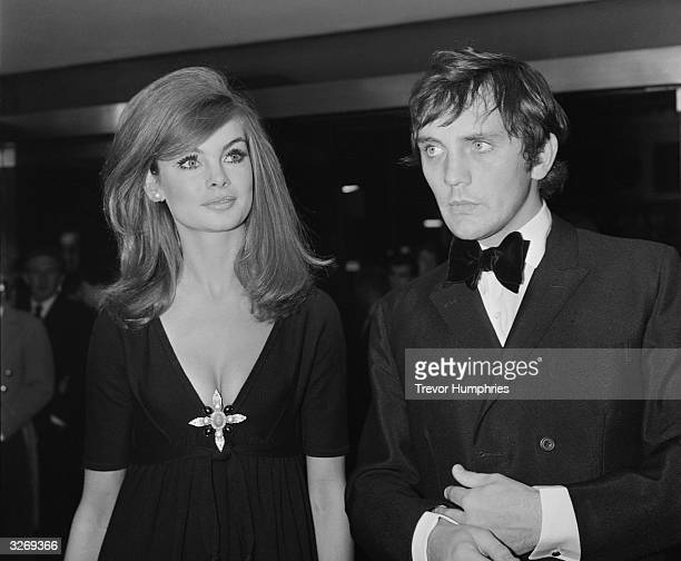 British actor Terence Stamp with fashion model Jean Shrimpton at London's Columbia Theatre for the British premiere of his new film 'The Collector'