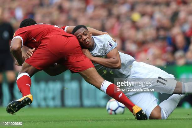 14th October 2017 Premier League Liverpool v Manchester United Anthony Martial of Man Utd battles with Joe Gomez of Liverpool