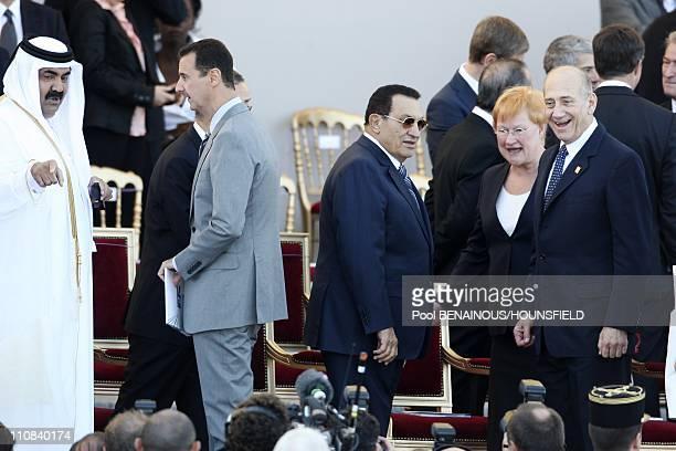 14Th Of July Bastille Day Parade In Paris France On July 14 2008 Sheikh Hamad Bin Khalifa alThani Bashar AlAssad Hosny Mubarak Tarja Halonen Ehud...