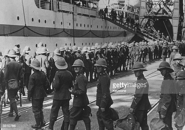 Men of the East Yorks regiment embarking at Southampton on their way to put down riots in Palestine
