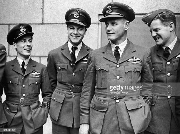 Three heroes of the Royal Air Force at the Air Ministry during celebrations of the second anniversary of the greatest day in the Battle of Britain...