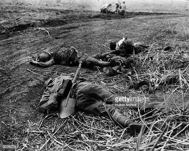 Three Japanese soldiers lie dead on the ground killed in fighting for Raiders' Ridge in the Battle for Guadalcanal Solomon Islands The battle was a...