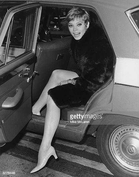 Juliet Prowse star of the musical 'Sweet Charity' arriving in London for rehearsals
