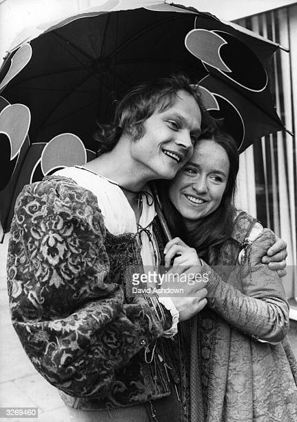 Actor Christopher Neame and actress Ann Hasson rehearsing for Thames TV special production of 'Romeo and Juliet' for schools