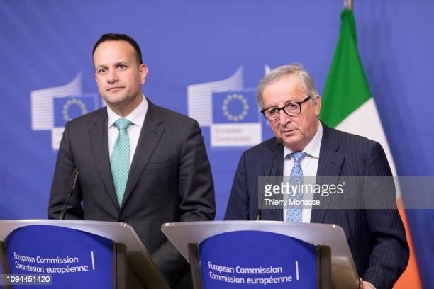 14th Taoiseach Leo Varadkar and the European Commission JeanClaude Juncker are talking to media after a bilateral meeting in the Berlaymont the EU...