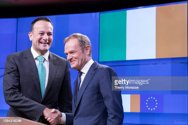 14th Taoiseach Leo Varadkar and the President of the European Council Donald Franciszek Tusk talk to media after a bilateral meeting in the Europa...