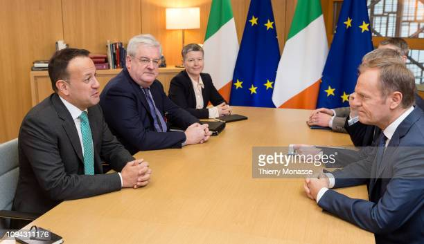 14th Taoiseach Leo Varadkar is welcome by the President of the European Council Donald Franciszek Tusk prior a bilateral meeting in the Europa the EU...