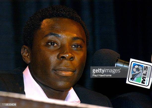 Year old Freddy Adu speaks during a news conference announcing his multi year deal with Major league Soccer at Madison Square Garden in New York City...