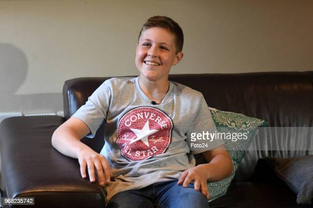 14yearold Leo Sadler is excited after meeting his role model AB de Villiers at his home during an arranged surprise on June 05 2018 in Pretoria South...