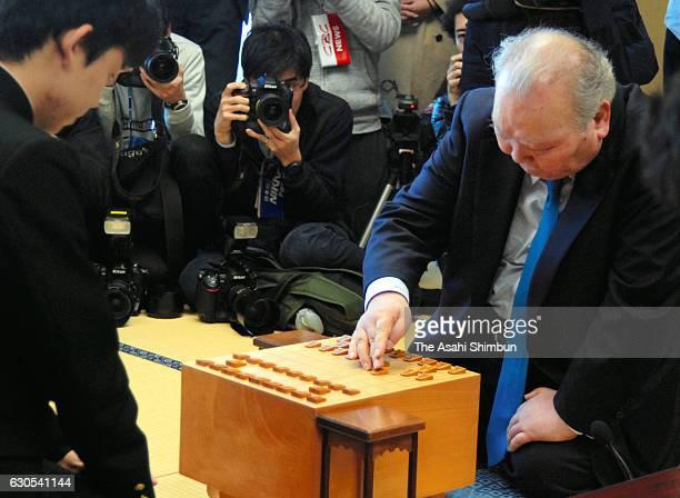 14yearold professional shogi player Sota Fujii and 76yearold Hifumi Kato contest in the qualification of the Ryuo Title at Tokyo Shogi Kaikan on...
