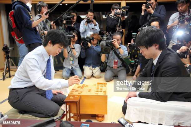 14yearold professional shogi player Sota Fujii and Seiya Kondo compete during the Ryuo Title Qualifying Group 6 match at Shogi Kaikan on May 25 2017...
