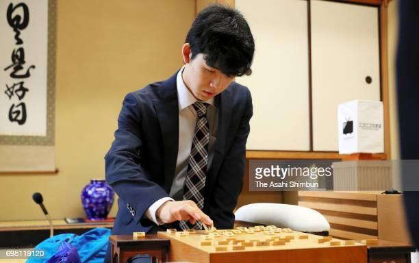 14yearold professional Shogi player Sota Fujii competes against Hirotaka Kajiura in the Eiosen Qualifier at Shogi Kaikan on June 10 2017 in Tokyo...