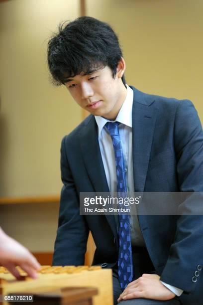 14yearold professional shogi player Sota Fujii competes during the Ryuo Title Qualifying Group 6 match against Seiya Kondo at Shogi Kaikan on May 25...
