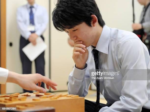 14yearold professional Shogi player Sota Fujii reacts after his win over Yugo Takeuchi in the Kakogawa Seiryusen Tournament at Kansai Shogi Kaikan on...