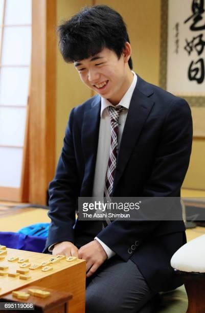 14yearold professional Shogi player Sota Fujii reacts after his win over Hirotaka Kajiura in the Eiosen Qualifier at Shogi Kaikan on June 10 2017 in...