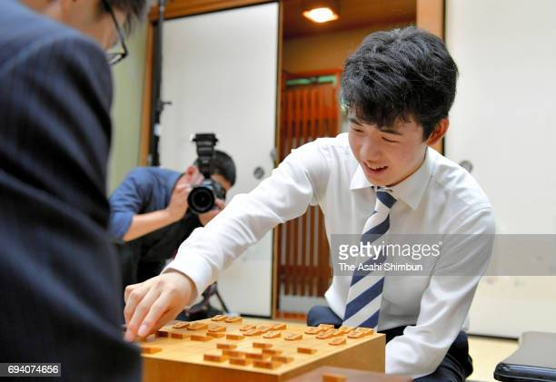 14yearold professional Shogi player Sota Fujii reacts after the Joshu Yamada Challenge Cup match against Hiroshi Miyamoto at Kansai Shogi Kaikan on...