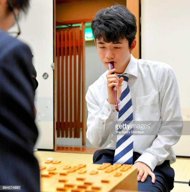 14yearold professional Shogi player Sota Fujii reacts after the Joshu Yamada Challenge Cup match against Hiroshi Miyamoto at Kansai Shogi Kaikan on...