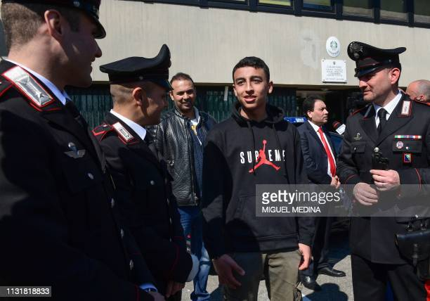14yearold schoolchild Ramy Shehata who was able to call with his cell phone the Italian Carabinieri police for help during a schoolchildren...