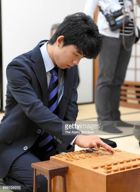 14yearold shogi player Sota Fujii competes against Shingo Sawada at Osho title qualification at Kansai Shogi Kaikan on June 21 2017 in Osaka Japan